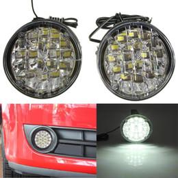 Faróis de neblina on-line-2pcs 12V 18 LED Rodada Car Driving diurnas Branco Car Light DRL Fog Lamp Bright LED Offroad Luz de trabalho