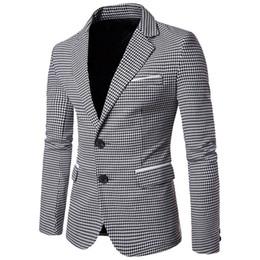 formale mäntel für männer Rabatt Plaid Print Casual Men Blazer Mode Langarm-Brautkleid Mantel Formal Veste Kostüm Geschäfts Herren-Blazer-Jacken