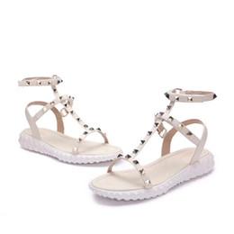 Canada 2018 Designer femmes en cuir véritable parti plat mode rivets filles sexy pieds nus chaussures chaussures de mariage Double bretelles sandales taille 35-40 N042 Offre