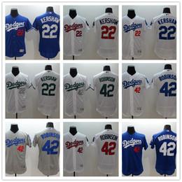 f10b78b403959 MLB 2017 Hot Men Los Angeles Dodgers Jersey de Beisebol 22 Clayton Kershaw  42 Jackie Robinson branco cinza azul Camisa de Beisebol desconto dodgers  white ...
