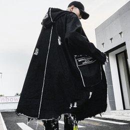 jaquetas denim trench coat Desconto High Street Denim dos homens Casaco Rasgado Selvedge Com Capuz Longo Trench Coat Jaqueta Vintage Blusão Longo