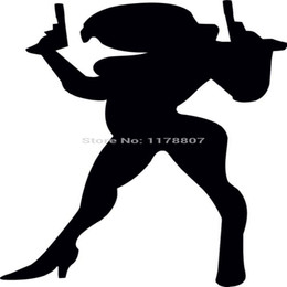 decalques do carro da senhora Desconto HotMeiNi Atacado 20 pçs / lote Sexy Lady Guns Campista Adesivo Traseiro Do Pára-brisa TruckLaptop Art Wall Etc Vinil Decalque de Alta Qualidade 8 Cores