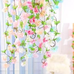 2019 seda de sakura flor de seda flores de sakura flores de cerezo artificiales pared de flores vides fiesta guirnalda seda falsa flor de cerezo ratán boda EEA351 rebajas seda de sakura