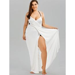 Trendy Plus Size Mulheres Praia Túnica Capa Ups Strap Backless Cover Up Mulheres Swimsuit Maiô Beachwear Túnica Pareo Praia de Fornecedores de vestido de crochet branco longo