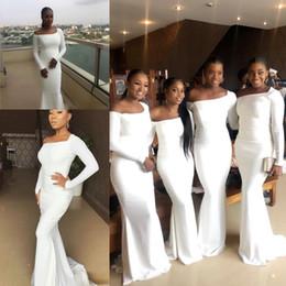 Vestidos de damas de honor de sirena modestos 2019 Talla grande Vestidos de fiesta para invitados a la boda sudafricanos de manga larga Vestido de dama de honor de honor desde fabricantes