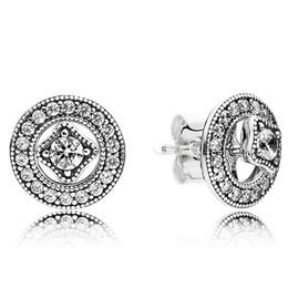 pendientes de plata de ley Rebajas 2019 Nuevo diseñador de marca 925 pendientes de Pandora de plata esterlina para mujer Sparkling Love Dazzling Droplets Earstud Ladies Earrings Clear CZ