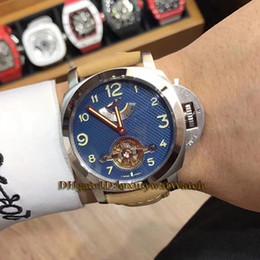 4be1a0ff9b8 Luxry marca 46mm de reserva de energia azul caixa de prata de discagem  automática mecânica pulseira de couro dos homens relógios relógio do  esporte de alta ...