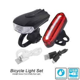 Morsetti luminosi online-Set luci bici anteriore e Safty Luce posteriore ricarica USB con morsetto standard Lampada da guida Inteligent Senor
