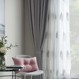 cortinas de linho bordadas Desconto Qualidade Cortinas de Linho Bordado Cortina Da Janela Da Sala Para Sala de estar Nordic Cinza Deixa Cortinas de Tule Cozinha