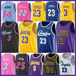 Camisas de basquete on-line-23 LeBron James Basketball Jersey Dwyane Wade Jimmy 22 Butler NCAA Anthony 3 Davis 0 Kobe Kyle 24 Bryant Kuzma Tyler Kendrick 14 Herro Nunn
