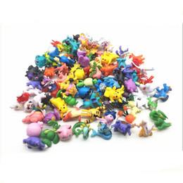 Pequenos brinquedos para crianças on-line-Pikachu Modelo Decoração de Bolso Monstro 144 pçs / lote Pequenos Ornamentos Figuras de Ação Multicolor Dos Desenhos Animados Crianças DIY Brinquedos Figuras Brinquedos Anime