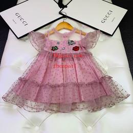 2019 vestidos de verão bebê artesanal 2019 verão bebê meninas vestido rosa Handmade frisada vestido bordado moda casual vestidos crianças roupas crianças roupas meninas ABD-33 vestidos de verão bebê artesanal barato