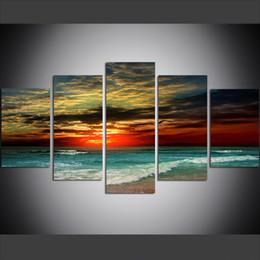 2019 pittura ad olio sulla spiaggia del mare 5 pezzi di grandi dimensioni tela wall art immagini creativo tramonto spiaggia mare poster art print pittura a olio per soggiorno pittura ad olio sulla spiaggia del mare economici