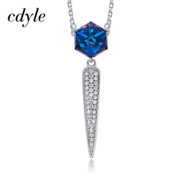 Оптовая кристаллы от Swarovski синий падающая звезда кулон для женщин ожерелье элегантный ключицы цепи Стрельба из лука ожерелье воротник партии от