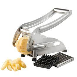 máquina de corte de batata Desconto Aço Inoxidável QUENTE Cortadores de Batata Frita Batata Chips Tira Máquina de Corte Fabricante Slicer Chopper Dicer W / 2 tipos de Lâminas
