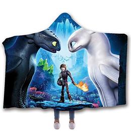 2019 cobertores de lã para adultos Como Treinar O Seu Dragão Impresso Cobertor Com Capuz Para Adultos Criança Quente Wearable Fleece Mulher Jogue Cobertores Manto De Microfibra desconto cobertores de lã para adultos