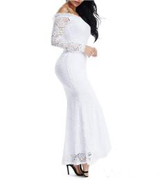 Estilo imperio vestidos largos online-2019 nuevo estilo de encaje floral de las mujeres de manga larga fuera del hombro vestido de sirena de boda vestidos de novia imperio