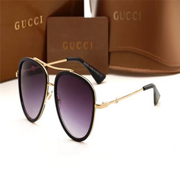 luxury eyewear brands Coupons - Luxury-High Quality Classic Pilot Sunglasses Designer Brand Mens Womens Sun Glasses Eyewear Gold Metal Green Glass Lenses Brown Case
