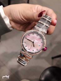 frauen silberne armbanduhren Rabatt Outdoor Quarz Rose Gold Diamond Damenuhr 33MM Perlmutt Pink Dial Damenuhren Silber Edelstahl Armband