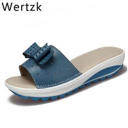2019 sandali da donna in vera pelle donna appartamenti scarpe zeppe  piattaforma scivoli femminili spiaggia infradito estate scarpa lady j019 ae8ea1046304