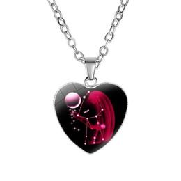 12 Collar de la constelación del signo del zodiaco corazón colgante, collar, joyería de moda, regalo Will y Sandy Drop Ship 2019 venta caliente desde fabricantes