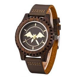 Мужские часы из черного дерева онлайн-GIMSR Watch Mens Design  Black Wooden Watches Real Leather Quartz Watch for Men Natural Ebony Wood Drop Shipping