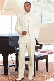 Faja de esmoquin online-Por encargo Novios Tuxedos Tailcoat Ivory Notch Lapel Mejor hombre Groomsman Hombres Boda / trajes de baile para el novio (chaqueta + pantalones + corbata + faja) J148