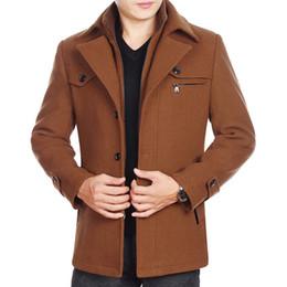 Más nuevo Chaquetas de invierno Hombres Abrigo de lana Negocio Casual Mezclas de lana Chaqueta Hombre Espesar Cazadora gris Negro Marrón desde fabricantes