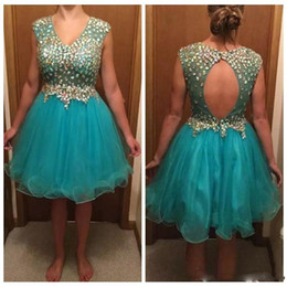 df60ac34a8d V-Neck Cap Sleeveless A-Line Homecoming Dresses 2019 Bling Bling Crystal  Beaded Short Knee Length Graduation Party Gowns Prom Wear Tulle discount  short ...