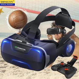 Google cartón bluetooth online-Blu-Ray VR Caja de gafas 3D de realidad virtual Estéreo VR Casco de casco de Google Cardboard Headset para IOS Android Smartphone, Bluetooth Rocker