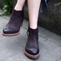 2019 botas de mujer de cuero suave diseñador Artmu nueva moda mujer botas zapatos hechos a mano suave cuero genuino zapatos cremallera señora vestido botas mujer diseñador botas de mujer de cuero suave diseñador baratos