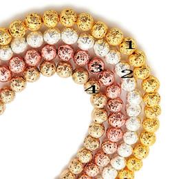geschnitzte weiße perlen blume Rabatt 65 teile / los 6mm 4 Farben für wählen 6mm / 8mm überzogene Lava Volcanics Silber Gold überzogene runde Stein lose Perlen