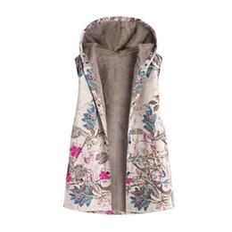 Giacca con cappuccio donna xl online-2019 Hot Womens Vest Donna Inverno Caldo Outwear Stampa floreale Tasche con cappuccio Vintage Oversize Coat Vest Plus Size Jacket Gilet 30