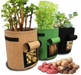 Sacos de crescimento de vegetais on-line-Non-woven Nursery Bags Planta Potato Crescer Saco De Tecido De Feltro Pçssaco de Mudas Vegetais Reutilizáveis Crescer Vasos Sementes de Mudas de Flores LJJA2530