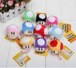 Funghi ripieni online-peluche nuovo peluche 7cm Super Mario Bros Mushroom con portachiavi in peluche Bambola giocattolo per bambini regalo