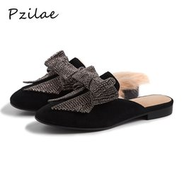 winter home slippers for men Coupons - Pzilae fashion women slippers summer winter home slippers rabbit fur winter warm leather slipper for women flat shoes woman33-42
