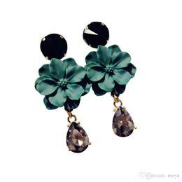 2019 gioielli in pietra nera Vintage Bohemia Brass naturale pietra nera di cristallo grande orecchino per le donne gioielli di moda verde fiore ciondola gli orecchini di goccia Bijoux AL-071 gioielli in pietra nera economici