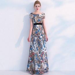 mono de manga larga marfil Rebajas 2020 de manga corta vestidos de baile floral de moda del bordado del A-line del nuevo de las mujeres vestidos de noche del partido formal de los vestidos del desfile vestido VD0188