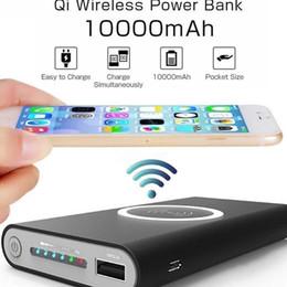 Tragbares telefon-ladegerät für samsung s6 online-10000mAh Universal-bewegliche Energien-Bank Qi Wireless-Ladegerät für iPhone 8 Samsung S6 S7 S8 Powerbank Handy Wireless-Ladegerät