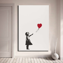 oil paintings art print canvas frame Promo Codes - Girl With Balloon Banksy Wall Art Canvas Poster And Print Canvas Painting Decorative Picture For Office Living Room Home Decor