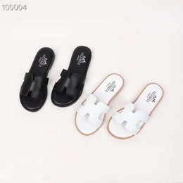 girls dress shoe flat size Promo Codes - Kid slipper boy black leather sandals and slippers fashion solid brand summer shoes for boy girl dress EU 26-35 send with box
