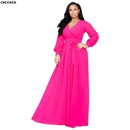 maxi swing dress Coupons - 2019 women summer notched v-neck long sleeve with sashes big swing chiffon maxi dress vintage party long dresses 3 color X9150