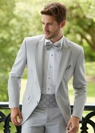Мужские белые брюки онлайн-Grey Suit Men Blazer Costume Homme Mariage Beach Wedding Men Suit With White Pants Smart Terno Slim Fit Tuxedo Coat Prom Jacket