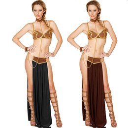 slave dresses Coupons - New Sexy Carnival Cosplay Princess Leia Slave Costume Dress Gold Bra and Neckchain Egyptian goddess costume