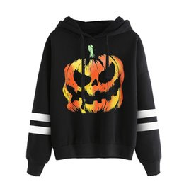 Halloween topo abóbora on-line-Mulheres Autumn manga comprida Hoodies preto Halloween Pumpkin Pattern com capuz solto Top New