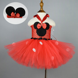 robes de bébé rouge à pois Promotion 1 Set Rouge À Pois Robe De Tutu Filles Fantaisie Costume Cosplay Costume De Bébé Fille Anniversaire Party Tutu Robes Outfit 4 Options De Couleur Y190516