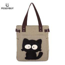 2019 saco padrão do gato Pb Peggybuy Mulheres Gato Bonito Padrão Bolsas de Ombro Nova Lona Grande Capacidade Totes Top-handle Sacos de Compras Bolso de mujer saco padrão do gato barato