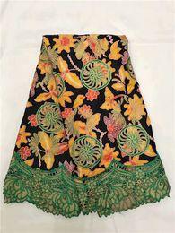 Argentina Increíble cordón de cera encaje bordado africano tela de encaje de cera para el vestido de costura WLF210 (6 yardas / lote) Suministro