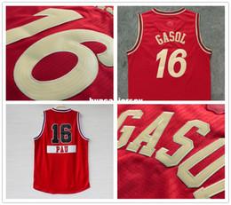 Basquete estilo livre estilo jersey on-line-Frete grátis estilo Pau Gasol # 16 Natal dos homens de basquete Jersey Bordado Jerseys Top qualidade camisa esporte Vermelho Ncaa