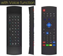 2.4ghz t2 sans fil Promotion 1pcs par Post MX3 X3 T2 w / microphone Mini 2.4GHz Gyroscope Sans Fil Clavier Air Mouse À Distance G-Capteur Gyroscope